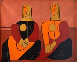 Dos mujeres sentadas, 1974